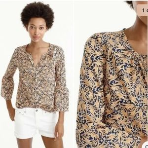 Drakes For J Crew Giraffe Printed Top  Bell Sleeve